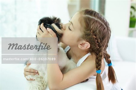 Portrait of happy girl kissing shih-tzu dog at home Stock Photo - Budget Royalty-Free, Image code: 400-06107089