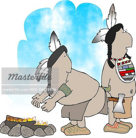 This illustration depicts two native American Indians by a campfire. Stock Photo - Budget Royalty-Free, Image code: 400-06129936