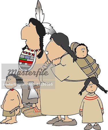 This illustration depicts a native American Indian family. Stock Photo - Budget Royalty-Free, Image code: 400-06130105