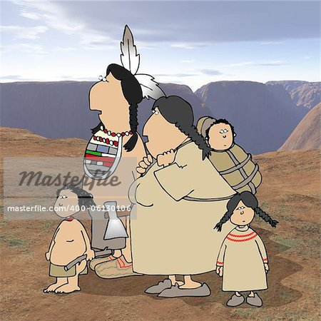 This illustration depicts a native American Indian family with a desert background. Stock Photo - Budget Royalty-Free, Image code: 400-06130106