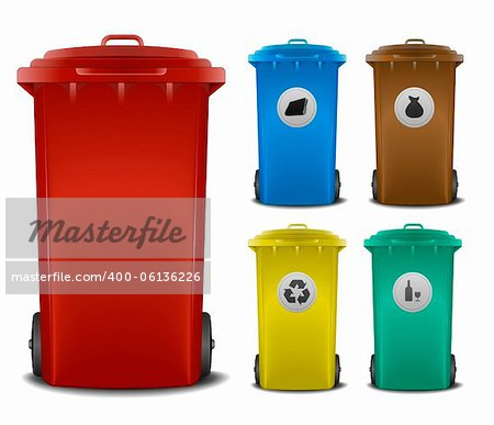 illustration recycling bins with different colors and symbols Stock Photo - Budget Royalty-Free, Image code: 400-06136226