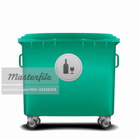 illustration of a green recycling bin with glass symbol Stock Photo - Budget Royalty-Free, Image code: 400-06136233