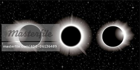 solar eclipse illustration in three stages Stock Photo - Budget Royalty-Free, Image code: 400-06136489