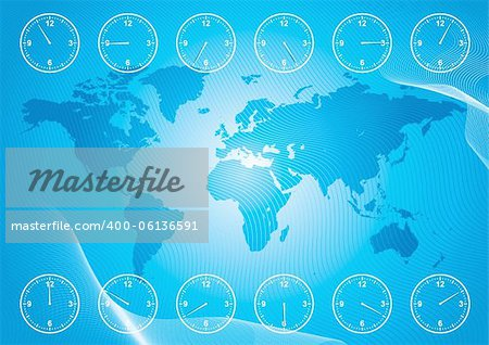 World map and region time. Stock Photo - Budget Royalty-Free, Image code: 400-06136591