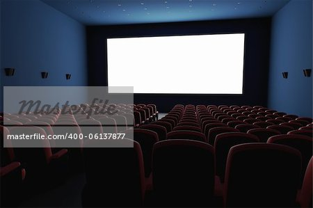 Inside of the cinema. Several empty seats waiting the movie on the white screen. Your text or picture on the white screen. Stock Photo - Budget Royalty-Free, Image code: 400-06137877