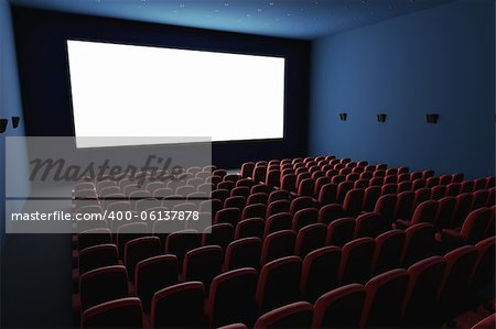 Inside of the cinema. Several empty seats waiting the movie on the white screen. Your text or picture on the white screen. Stock Photo - Budget Royalty-Free, Image code: 400-06137878