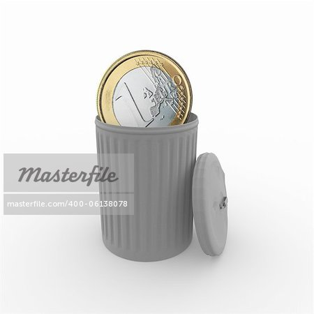 euro coin in a grey trash can Stock Photo - Budget Royalty-Free, Image code: 400-06138078