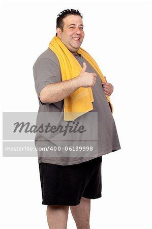 Fat man playing sport isolated on a white background Stock Photo - Budget Royalty-Free, Image code: 400-06139998