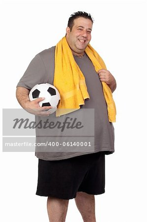 Fat man with a soccer ball isolated on a white background Stock Photo - Budget Royalty-Free, Image code: 400-06140001