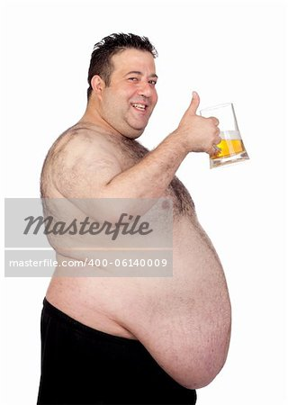 Fat man drinking a jar of beer isolated on white background Stock Photo - Budget Royalty-Free, Image code: 400-06140009