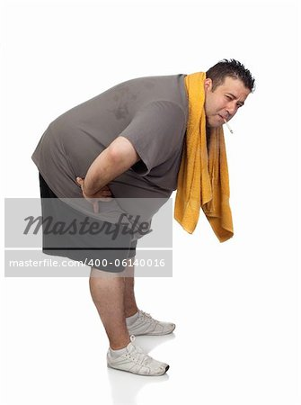 Fat man playing sport and smoking isolated on a white background Stock Photo - Budget Royalty-Free, Image code: 400-06140016