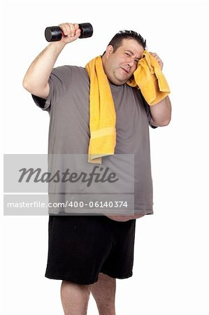 Fat man playing sport isolated on a white background Stock Photo - Budget Royalty-Free, Image code: 400-06140374