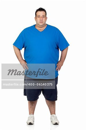 Seriously fat man isolated on white background Stock Photo - Budget Royalty-Free, Image code: 400-06140375