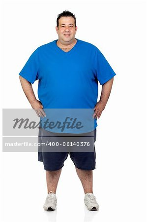 Happy fat man isolated on white background Stock Photo - Budget Royalty-Free, Image code: 400-06140376