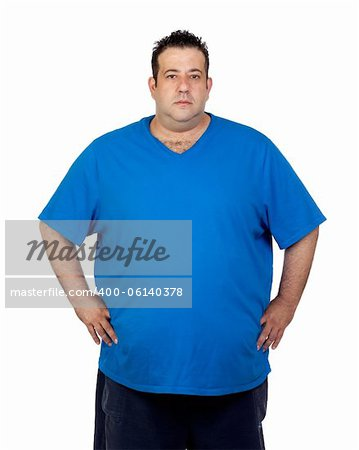 Seriously fat man isolated on white background Stock Photo - Budget Royalty-Free, Image code: 400-06140378