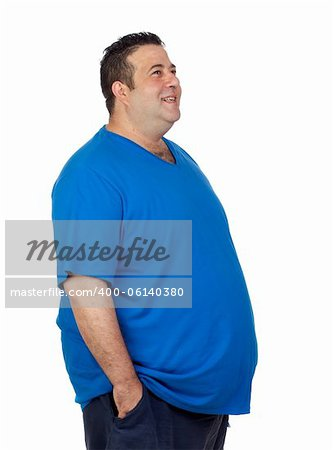 Happy fat man isolated on white background Stock Photo - Budget Royalty-Free, Image code: 400-06140380