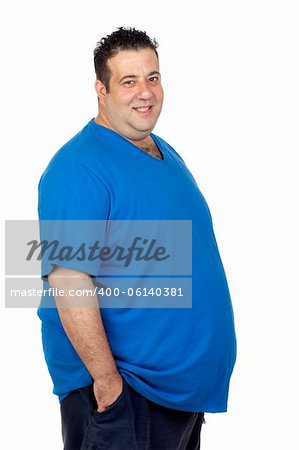 Happy fat man isolated on white background Stock Photo - Budget Royalty-Free, Image code: 400-06140381