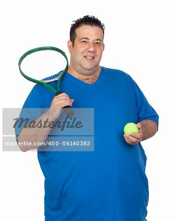 Fat man with a racket for play tennis isolated on white background Stock Photo - Budget Royalty-Free, Image code: 400-06140382