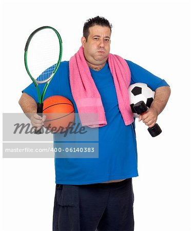 Fat man busy with many sports isolated on white background Stock Photo - Budget Royalty-Free, Image code: 400-06140383
