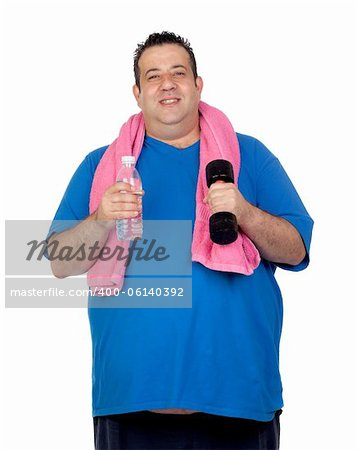 Fat man in the gym with a water bottle isolated on a white background Stock Photo - Budget Royalty-Free, Image code: 400-06140392