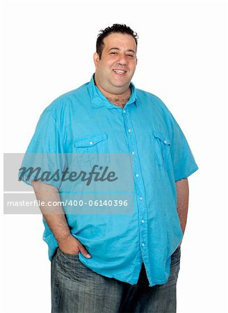 Happy fat man with blue shirt isolated on white background Stock Photo - Budget Royalty-Free, Image code: 400-06140396