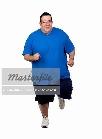 Fat man running isolated on white background Stock Photo - Budget Royalty-Free, Image code: 400-06141610