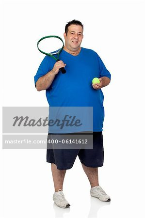 Fat man with a racket for play tennis isolated on white background Stock Photo - Budget Royalty-Free, Image code: 400-06141612