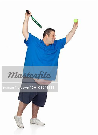 Fat man with a racket playing tennis isolated on white background Stock Photo - Budget Royalty-Free, Image code: 400-06141613