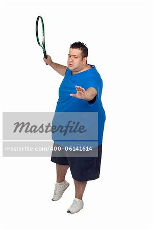 Fat man with a racket playing tennis isolated on white background Stock Photo - Budget Royalty-Free, Image code: 400-06141614