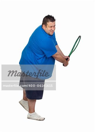 Fat man with a racket playing tennis isolated on white background Stock Photo - Budget Royalty-Free, Image code: 400-06141615