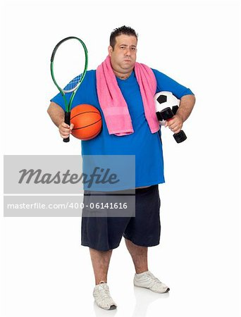 Fat man busy with many sports isolated on white background Stock Photo - Budget Royalty-Free, Image code: 400-06141616