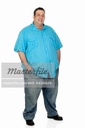 Happy fat man with blue shirt isolated on white background Stock Photo - Budget Royalty-Free, Image code: 400-06141619