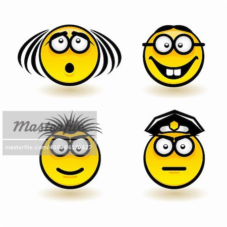 Cartoon faces. Set of second. Illustration of designer on white background Stock Photo - Budget Royalty-Free, Image code: 400-06170627