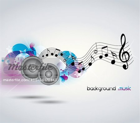 Abstract music background with music and speakers