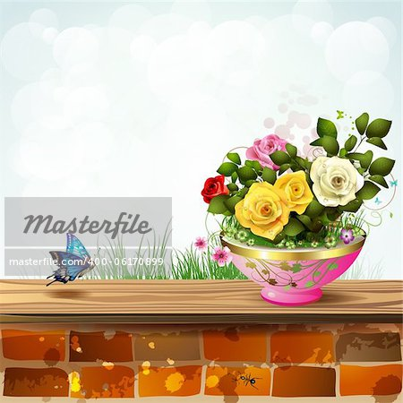 Flowerpot with roses and brick wall Stock Photo - Budget Royalty-Free, Image code: 400-06170899