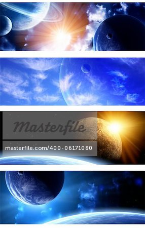 Set of space banners. A beautiful space scene with planets and nebula Stock Photo - Budget Royalty-Free, Image code: 400-06171080