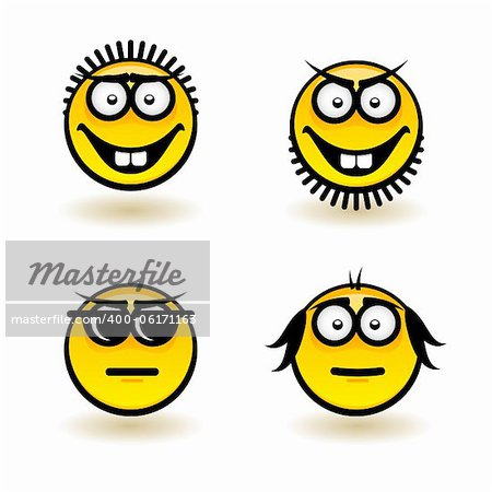 Cartoon faces. Set of fifth. Illustration for design on white background Stock Photo - Budget Royalty-Free, Image code: 400-06171163