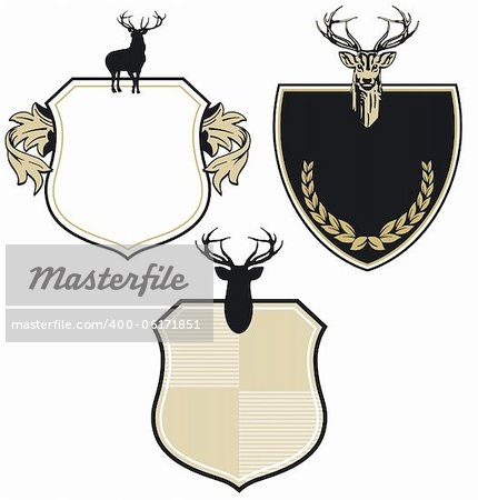 Coat of arms with three deer Stock Photo - Budget Royalty-Free, Image code: 400-06171851