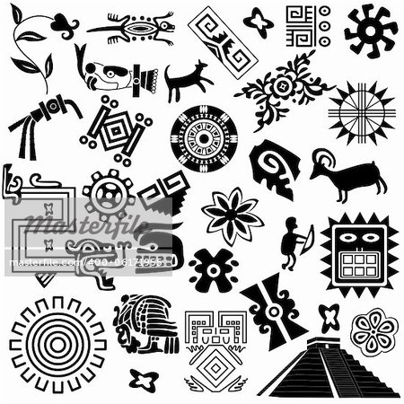 Vector of ancient american design elements on white Stock Photo - Budget Royalty-Free, Image code: 400-06171955