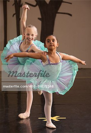 Two ballet students in fancy dresses posing together Stock Photo - Budget Royalty-Free, Image code: 400-06172148
