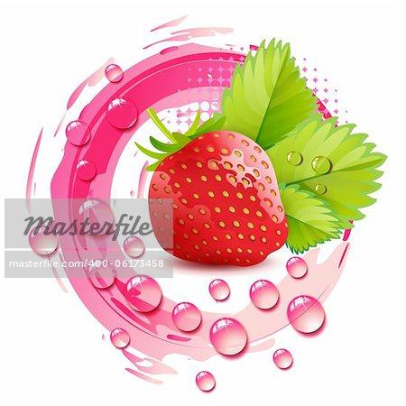 Strawberry with leafs and drops Stock Photo - Budget Royalty-Free, Image code: 400-06173458