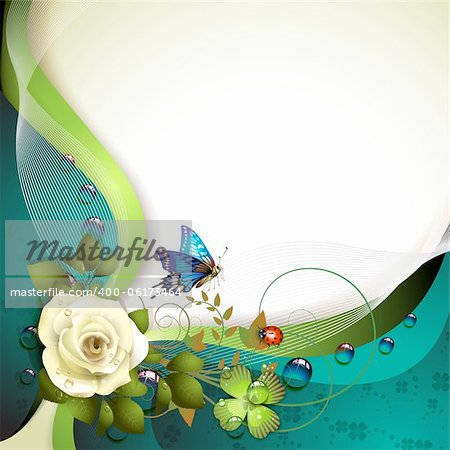 Background with rose, butterfly and drops of water Stock Photo - Budget Royalty-Free, Image code: 400-06173464