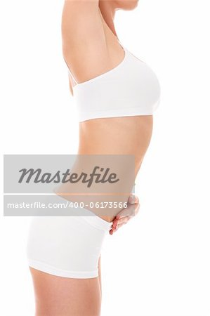 A picture of a very sensual female body stretching over white background Stock Photo - Budget Royalty-Free, Image code: 400-06173566