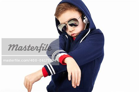 Portrait of a cool kid dressed like a rapper Stock Photo - Budget Royalty-Free, Image code: 400-06173704