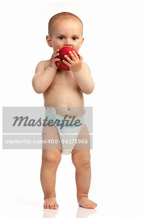 One-year old boy with red apple isolated over white background Stock Photo - Budget Royalty-Free, Image code: 400-06173965