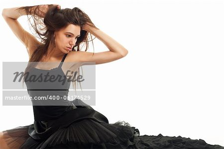 female ballet dancer in black dress holding her hair isolated on white Stock Photo - Budget Royalty-Free, Image code: 400-06174529