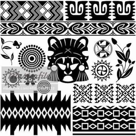 Vector image of ancient american pattern on white Stock Photo - Budget Royalty-Free, Image code: 400-06178132