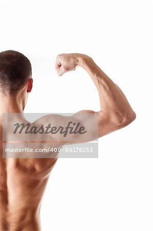 back view of a muscular young man showing his biceps isolated on white Stock Photo - Budget Royalty-Free, Image code: 400-06178253