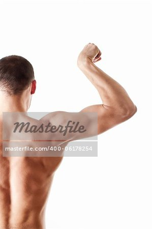 back view of a muscular young man showing his biceps isolated on white Stock Photo - Budget Royalty-Free, Image code: 400-06178254