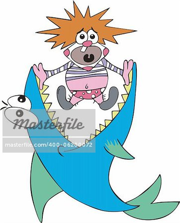 Big fish caught small clown. Color vector illustration. Stock Photo - Budget Royalty-Free, Image code: 400-06200072